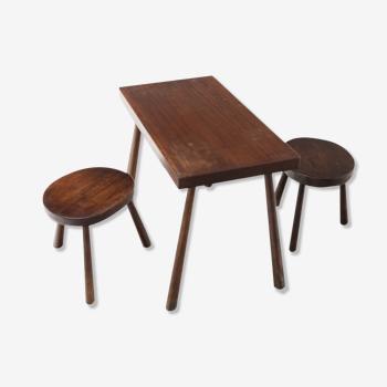 Ensemble table basse et deux tabourets