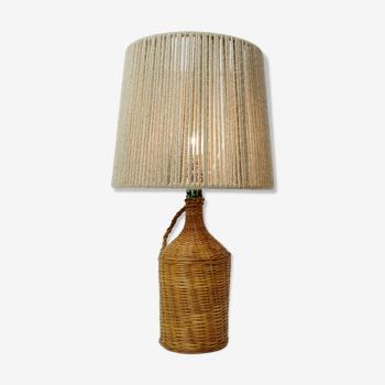 Lampe de table en osier et son abat-jour en corde de chanvre