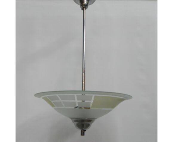Suspension art déco avec cuvette en verre