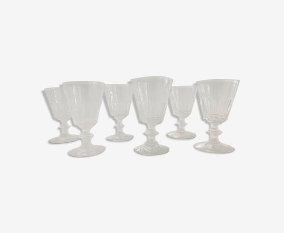 6 verres en cristal saint louis, modèle caton, xxème siècle