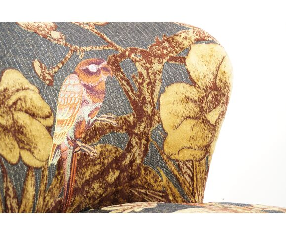 Cocktail chair swivelling grey and gold fabric
