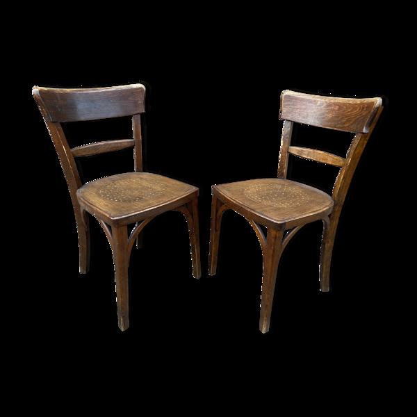 Paire de chaises de brasserie bois courbé