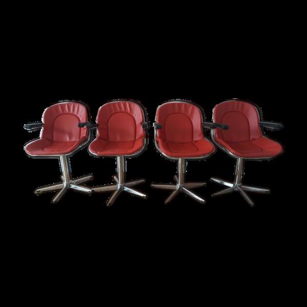 Selency Set de 4 fauteuils en fil d'acier vintage