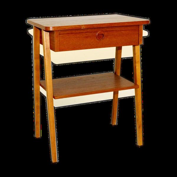 Selency Table de chevet en teck et en hêtre, Suède, 1960