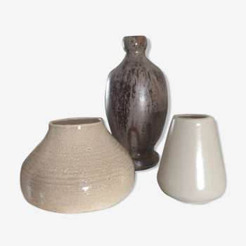 Series of 3 vases from the 70s ceramic