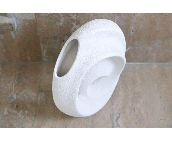 Vase blanc en céramique Bertoncello années 60