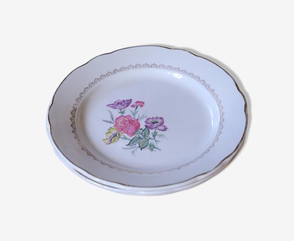 3 Assiettes fleuries vintage Digoin & Sarreguemines