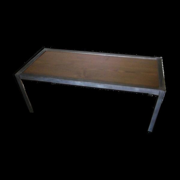 Table basse bois et metal industriel creation artisanale unique