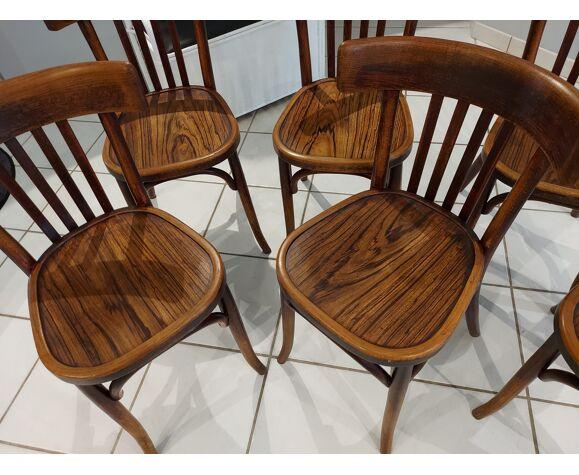 Suite de 6 chaises de bistrot Baumann années 1930