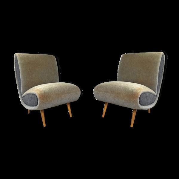Selency Paire de fauteuils organic années 50