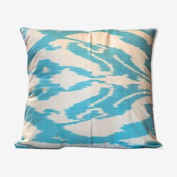 Blue cream silk cushion cover- 45x45cm