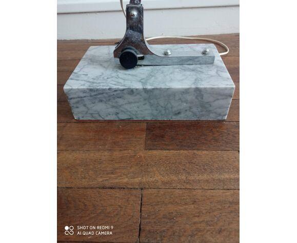 Lampadaire arc vintage 1970 marbre, chrome et opaline