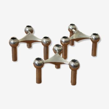 Série de 3 bougeoirs modulables Nagel 1970