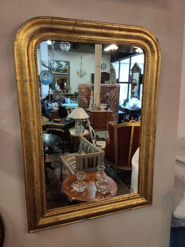 Miroir d'époque Louis-Philippe dorure à la feuille 88x62cm