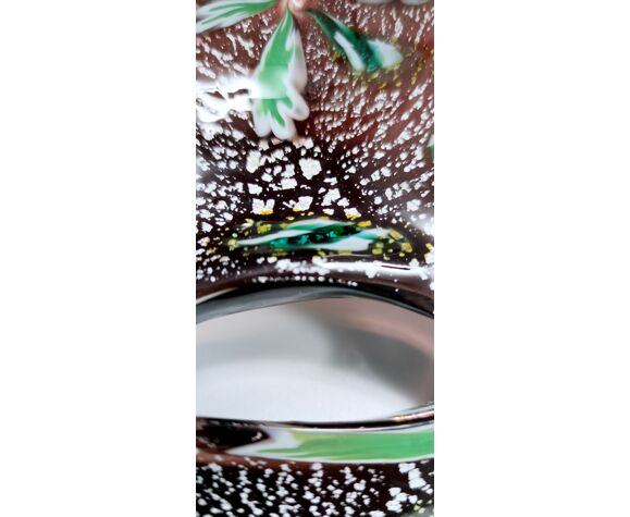 Cendrier en verre de Murano brun vintage par Fratelli Toso avec murrines