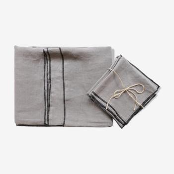 Nappe et serviettes gris souris en lin upcyclé