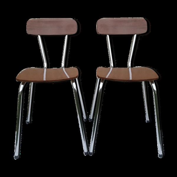 2 chaises en formica marron