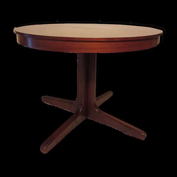 Table vintage ronde acajou piétement central