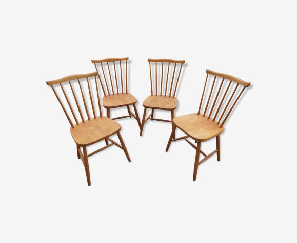 Ensemble de 4 chaises scandinaves années 60