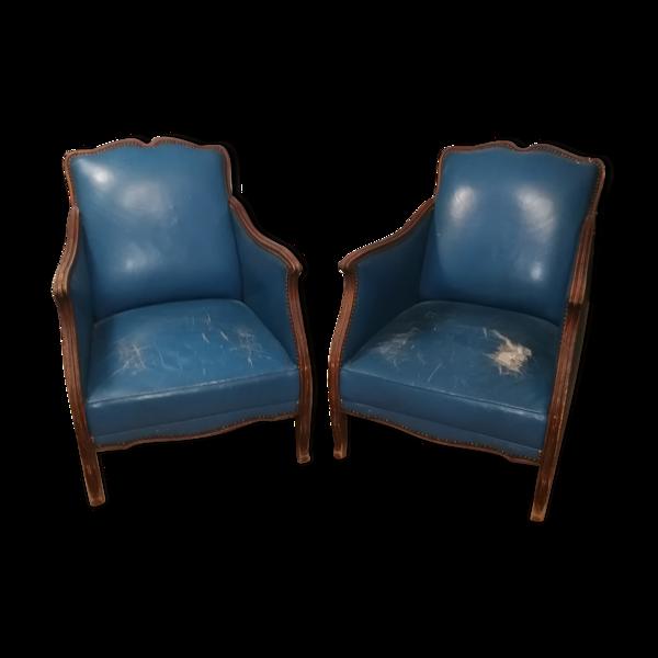 Selency Paire de fauteuils vintage en skai