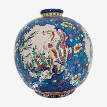 Vase boule à décor floral en émaux de louvière