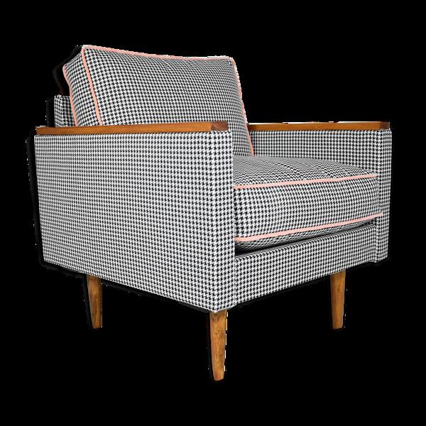 Selency Fauteuil rétro restauré original ZWP-8 Cube, tissu pied de poule, velours orange saumon, années 1970