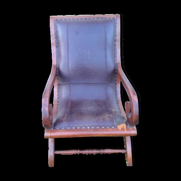 Fauteuil  à crosse assise en cuir