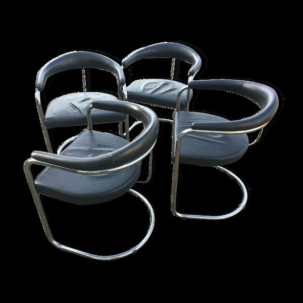 Ensemble de 4 chaises modèle ss33 d'Anton Lorenz pour Thonet