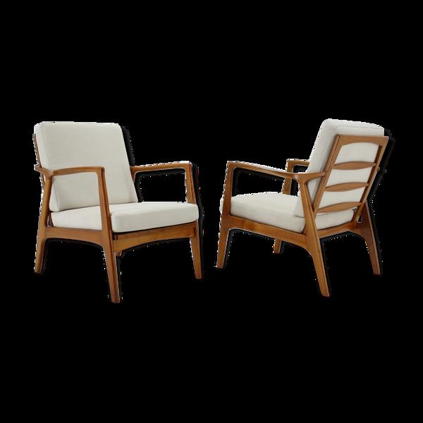 Paire de fauteuils en chêne des années 1970 Tchécoslovaquie
