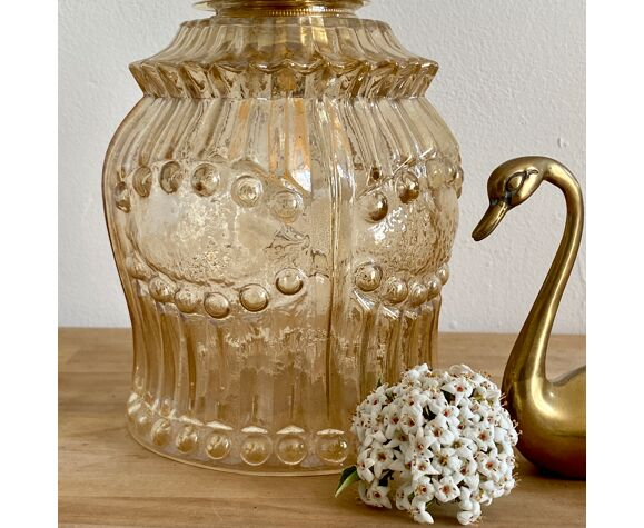 Vintage tulip hand lamp in amber glass