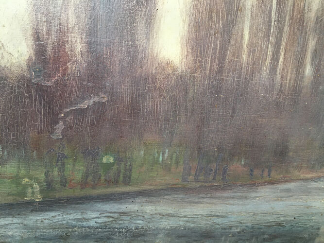 """Tableau Post impressionniste """"Bord de rivière arboré"""" par François Moreau - 1914"""