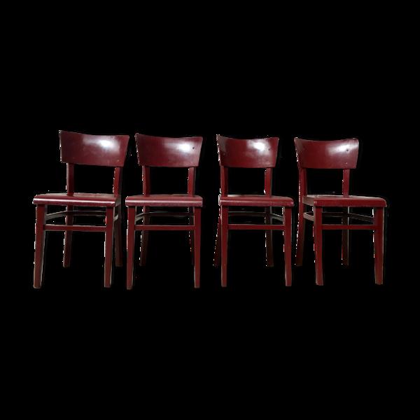 Série de 4 chaise Thonet en bois bistrot