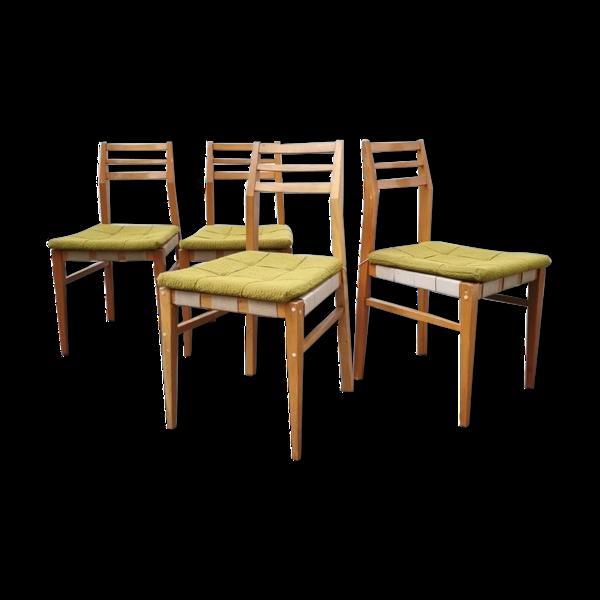 Série de 4 chaises tissu vert anis
