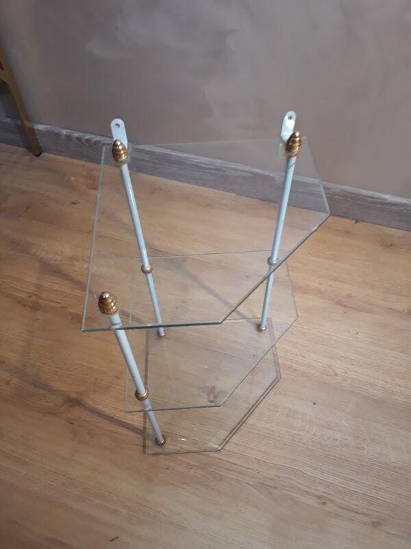 Etagere d'angle en verre 42x32