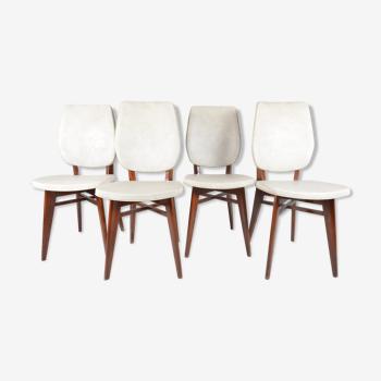 Set de 4 chaises scandinaves et skaï blanc