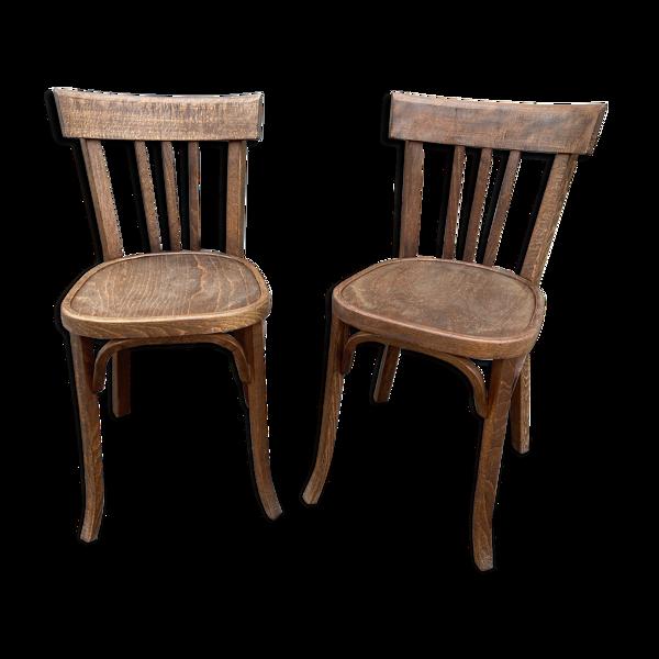Paire de chaises bistrot café bois courbé baumann