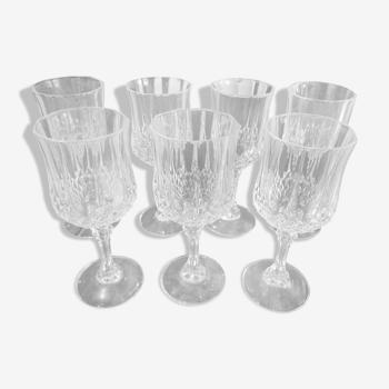 Lot de 7 verres à vin blanc Cristal d'Arques modèle Longchamp