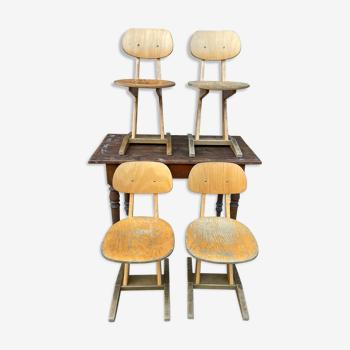 Set de 4 chaises d'école adulte Casala vintage design 1960
