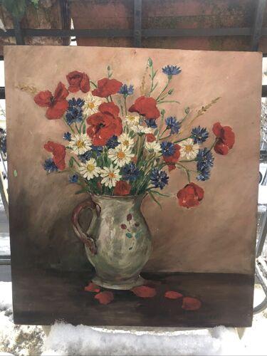 Huile sur isorel bouquet de fleurs des champs signée Jeanne Duret vers 1950