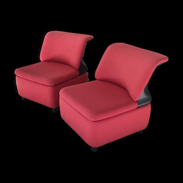 Selency Paire de chauffeuses en tweed rouge et vinyle noir