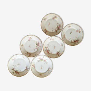 Lot de 6 assiettes plates en porcelaine de Limoges