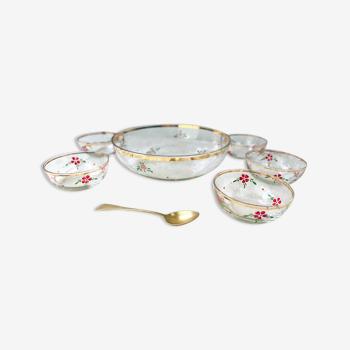 Service à dessert vintage en verre motif petites fleurs peint à la main pour 5 personnes