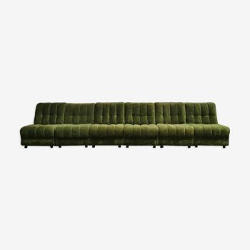 Canapé modulaire vintage en velours vert 'Bohemian'