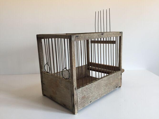 Cage à oiseaux ancienne en bois et acier