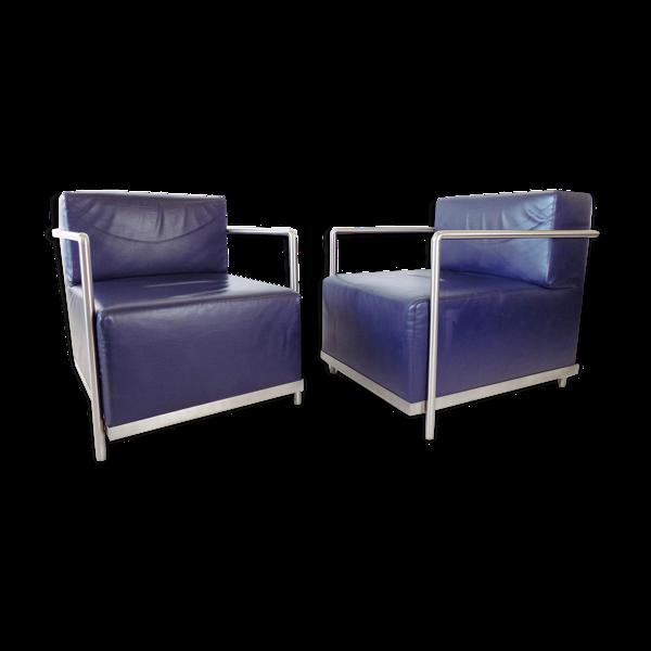 Ensemble Dema de 2 fauteuils en cuir casper par n. gerosa