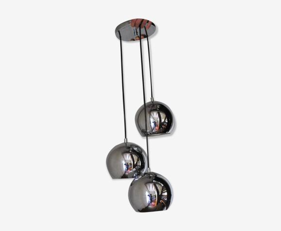 Vintage chrome waterfall suspension- 3 balls eye ball_ space age - 70s