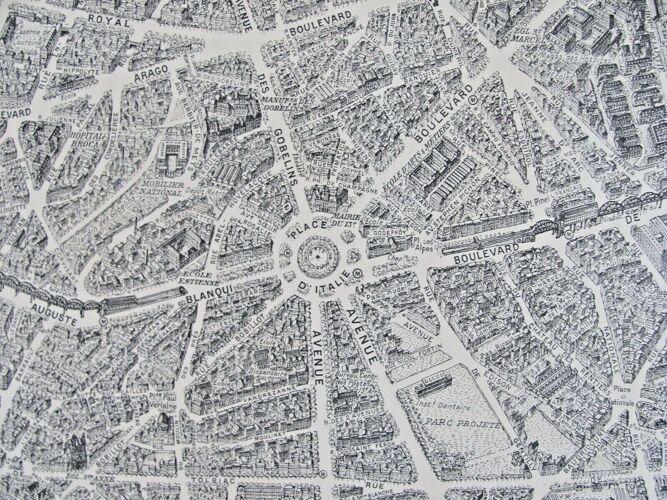 Plan de Paris à vol d'oiseau Peltier Blondel La Rougery