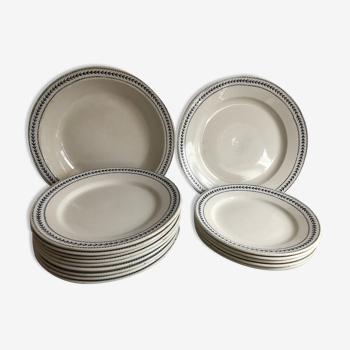 Ensemble de 16 pièces modèle Lauriers Terre de fer Porcelaine Opaque de Gien