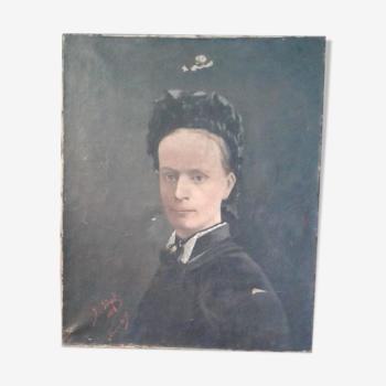 Tableau portrait huile sur toile fin 19 ème