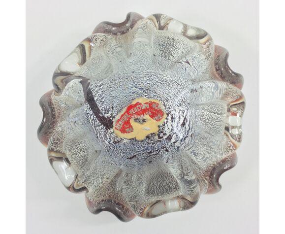 Cendrier en verre de Murano étiqueté petit bol de Barovier & Toso, années 1950